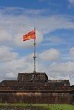 Indrukwekkende mening over de vlagtoren in de Citadel van Hue Imperial City, Centraal Vietnam Royalty-vrije Stock Afbeeldingen