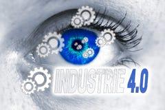Indsutrie 4 0 (dans l'industrie allemande) yeux regardent le concept de visionneuse Image libre de droits
