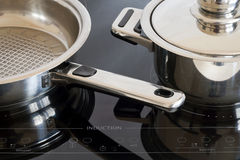 Induction cooker. Modern kitchen, Induction cooker and kitchen utensils Royalty Free Stock Images