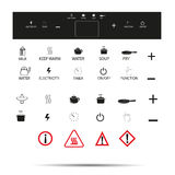 Induction cooker icon set electric stove  - flat Vector illustration Stock Photo