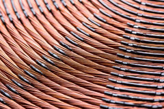 Induction heater copper coil closeup Stock Photo