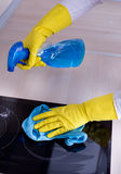 Induction hob cleaning Stock Photography