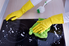 Induction hob cleaning Stock Photos
