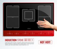 Induction Hob Surface Hand Poster. Realistic induction hob surface hand poster with induction stove not hot headline vector illustration vector illustration