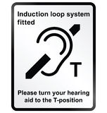 Induction Loop Facility Information Sign. Monochrome induction loop system facility public information sign isolated on white background royalty free illustration