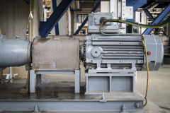 Induction motor with Centrifugal pumps. In chemical industrial plant stock images