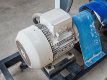 Induction motor. Old induction motor in steel frame wait tor remove to repair stock image