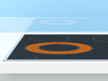 Induction stove. On the blue background. 3d render royalty free illustration