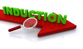 Induction. Text 'induction' in green uppercase letters on a large red (brown) arrow with a hand magnifier alongside, white background vector illustration