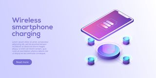 Inductive smartphone charging isometric vector illustration. Abs stock illustration