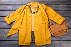 Indumento ed accessori gialli di inverno fotografia stock libera da diritti