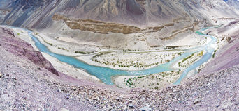 Indus river. Panoramic view of Indus river on the way from Manali to Leh, India Stock Image