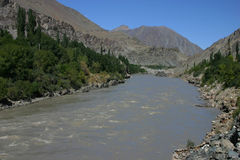 Indus river. In the valley of mountains of Ladakh Royalty Free Stock Images