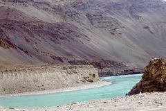 Indus River. The Indus River is the backbone of Ladakh; all the major places historically and currently such as Shey, Leh, Basgo, and Tingmosgang are situated Stock Photography