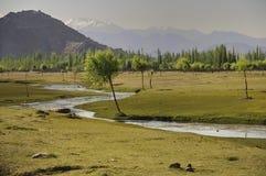 Indus river flowing through plains in Ladakh, India, stock images