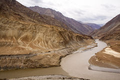 Indus river India. This is a confluence of river Indus on the left side and its tributary named Zanskar  on the right in the laddakh region of India Stock Photography