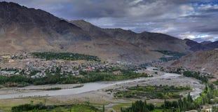 Indus river and Kargil City, Leh, Ladakh, Jammu Kashmir, India Royalty Free Stock Photography