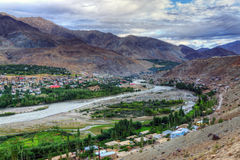 Indus river and Kargil City, Leh, Ladakh, Jammu and Kashmir, India Stock Photography