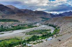 Indus river and Kargil City, Leh, Ladakh, Jammu & Kashmir, India Stock Photo