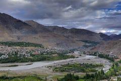 Indus river and Kargil City, Leh, Ladakh, Jammu Kashmir, India Stock Photos