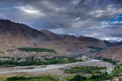 Indus river and Kargil City, Leh, Ladakh, Jammu Kashmir, India Royalty Free Stock Photos