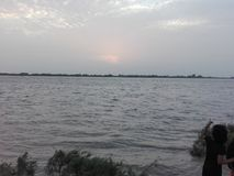 Indus River at Kotri Barrage. One of the longest rivers in Asia Stock Photos