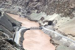 Indus River, Ladakh, India. Bridge on the Indus River in a valley of Ladakh, india. The total lenght of the river is 3610 km Stock Photography
