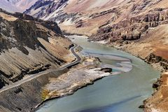 Indus river, Ladakh, Jammu and Kashmir, India Stock Photography