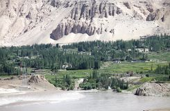 Nimmu Valley and Indus River, Ladakh, India. Indus River in a Nimmu Valley of Ladakh, india. The total lenght of the river is 3610 km Royalty Free Stock Image