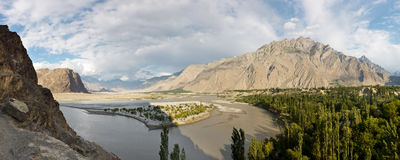Indus River Panorama. In the Karakorum Mountain Range in Northern Pakistan Royalty Free Stock Photo