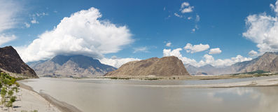 Indus River Panorama, Skardu, Pakistan Stock Photo