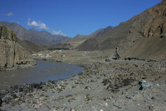 Indus river and valley. In mountains of Ladakh Royalty Free Stock Photography