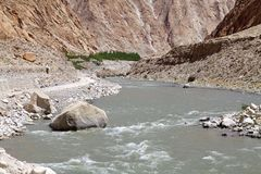 Indus River valley in Ladakh, India. Indus River valley along the road to lake Tsomoriri in Ladakh region of the Indian state of Jammu and Kashmir Royalty Free Stock Photos