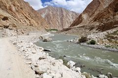 Indus River valley in Ladakh, India. Indus River valley along the road to lake Tsomoriri in Ladakh region of the Indian state of Jammu and Kashmir Stock Images