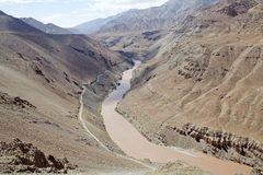 Indus River, Ladakh, India. Indus River in a valley of Ladakh, india. The total lenght of the river is 3610 km Royalty Free Stock Images
