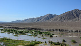 Indus river with the valley in Leh, India Stock Photo