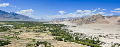 Indus river valley panorama, Ladakh, India. Indus river - view from roof of Tiksey monastery, Ladakh, India Royalty Free Stock Photo