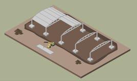 Indusrial仓库建设进程 房子建筑的等量例证 库存图片