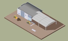 Indusrial warehouse building process. Isometric illustration of house construction. Indusrial warehouse building erection process with machines. ErrIsometric 3D Stock Photo