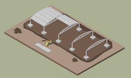Indusrial warehouse building process. Isometric illustration of house construction. Indusrial warehouse building erection process with machines. ErrIsometric 3D Stock Image
