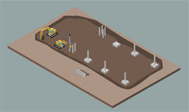 Indusrial warehouse building process. Isometric illustration of house construction. Indusrial warehouse building erection process with machines. ErrIsometric 3D Royalty Free Stock Image