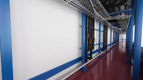 Industiral white wall and blue structure long corridor in daylight Stock Images