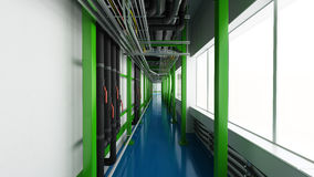 Industiral white wall and green structure long corridor in daylight Royalty Free Stock Images