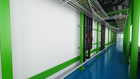Industiral white wall and green structure long corridor in daylight Royalty Free Stock Photo