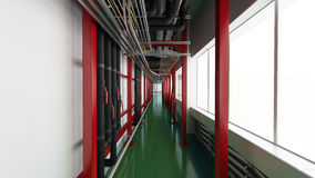 Industiral white wall and red structure long corridor in daylight Royalty Free Stock Photo