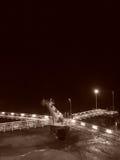 Industrail-Dock in Schwarzweiss Stockfoto