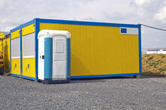 Industrial Site Container and mobile Toilet Royalty Free Stock Photography
