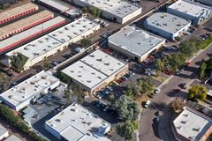 Industral Buildings from above. Typical light industrial and small business offices viewed from above royalty free stock image