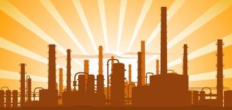 Industriële achtergrond, de illustratie van het fabriekslandschap stock illustratie