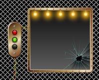 Industriële Achtergrond Het frame van het metaal Messingsknopen met verlichting Gebroken Glas Verlichting door lampen vector illustratie